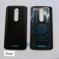 Real Leather Battery Door Cover Black For Motorola Droid Turbo 2 XT1581 X Force