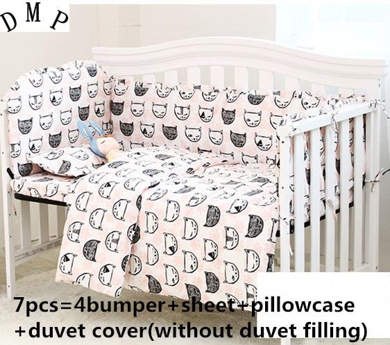 Promotion! 6/7PCS Cotton Baby Bedding Set Newborn Crib Bedding With Detachable Quilt , 120*60/120*70cm