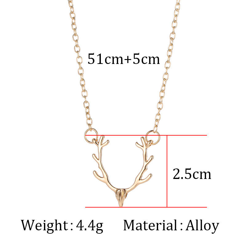 Christmas-elk-Antler-Necklace-Women-Charm-Simple-Cute-Necklaces-Jewelry-Womens-Accessorie-Short-Silver-Gold-Chain (1)