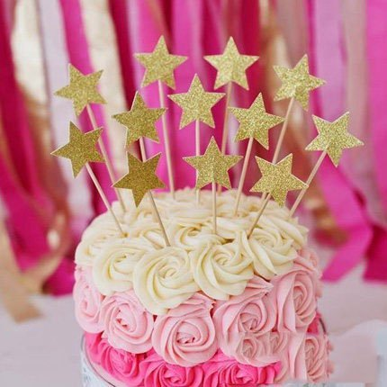 Perfec Twinkle Little Star Birthday Cupcake Toppers Baby Shower Gold Set