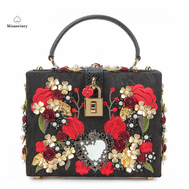 Embroidery Red Rose Flower Beaded Fashion Women Shoulder Handbags Messenger Crossbody Bags Evening Totes Bag Box Clutch Purse flower crystal beaded women black acrylic evening wedding box clutch bag ladies fashion chain shoulder crossbody handbags purse