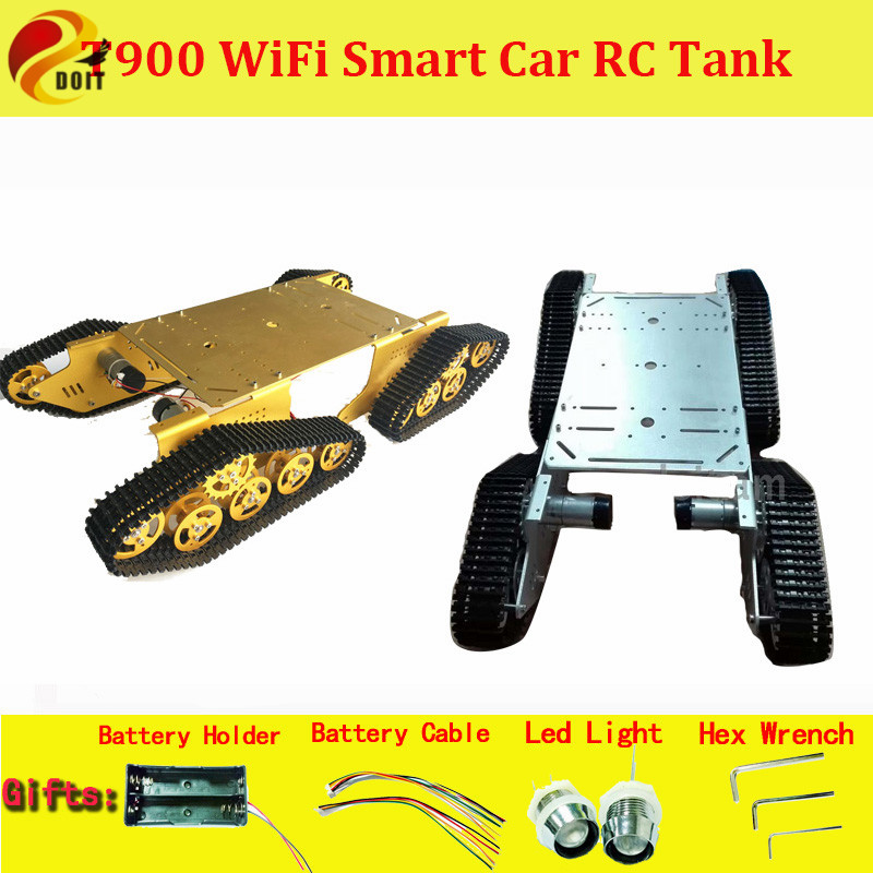 DOIT T900 4WD Metal Wall-E Tank Chassis Tracks Caterpillar Chassis 4 Motor Driven DIY Robot Car Chassis RC Toy Crawler Chain Kit metal track for diy robot tank car metal chain belt caterpillar width 4 5cm