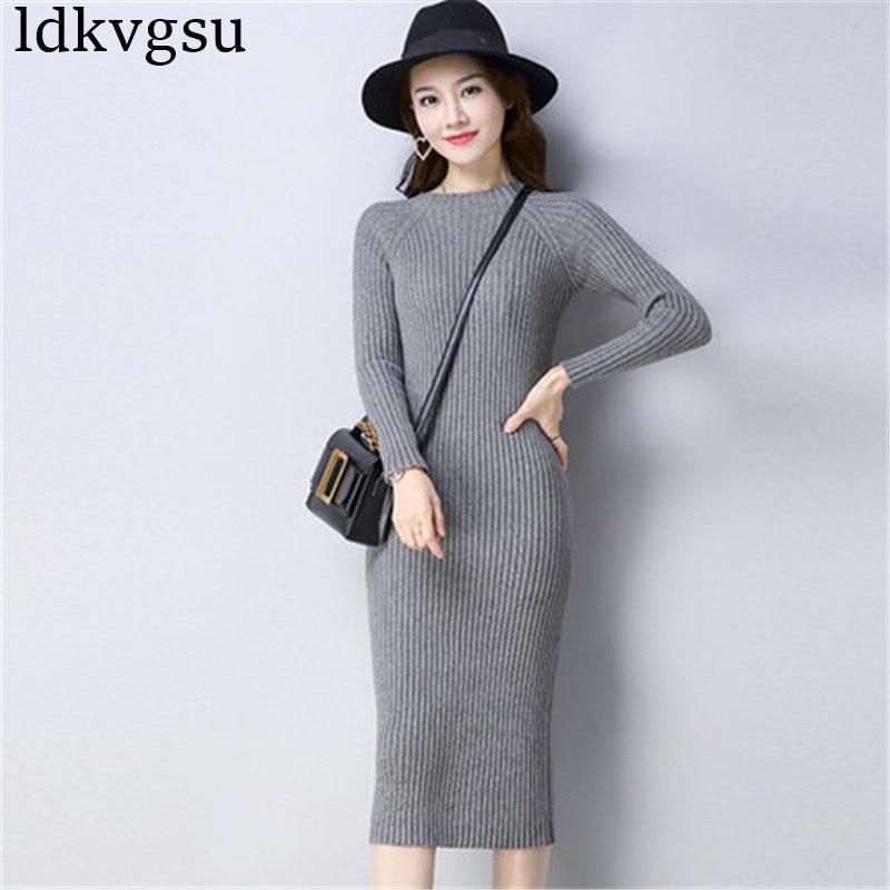 2019 Autumn Winter Sexy Long Sleeve Women Sweater Dress Slim Bodycon Knitted Sweater Winter Warm Party Dresses Women A1502
