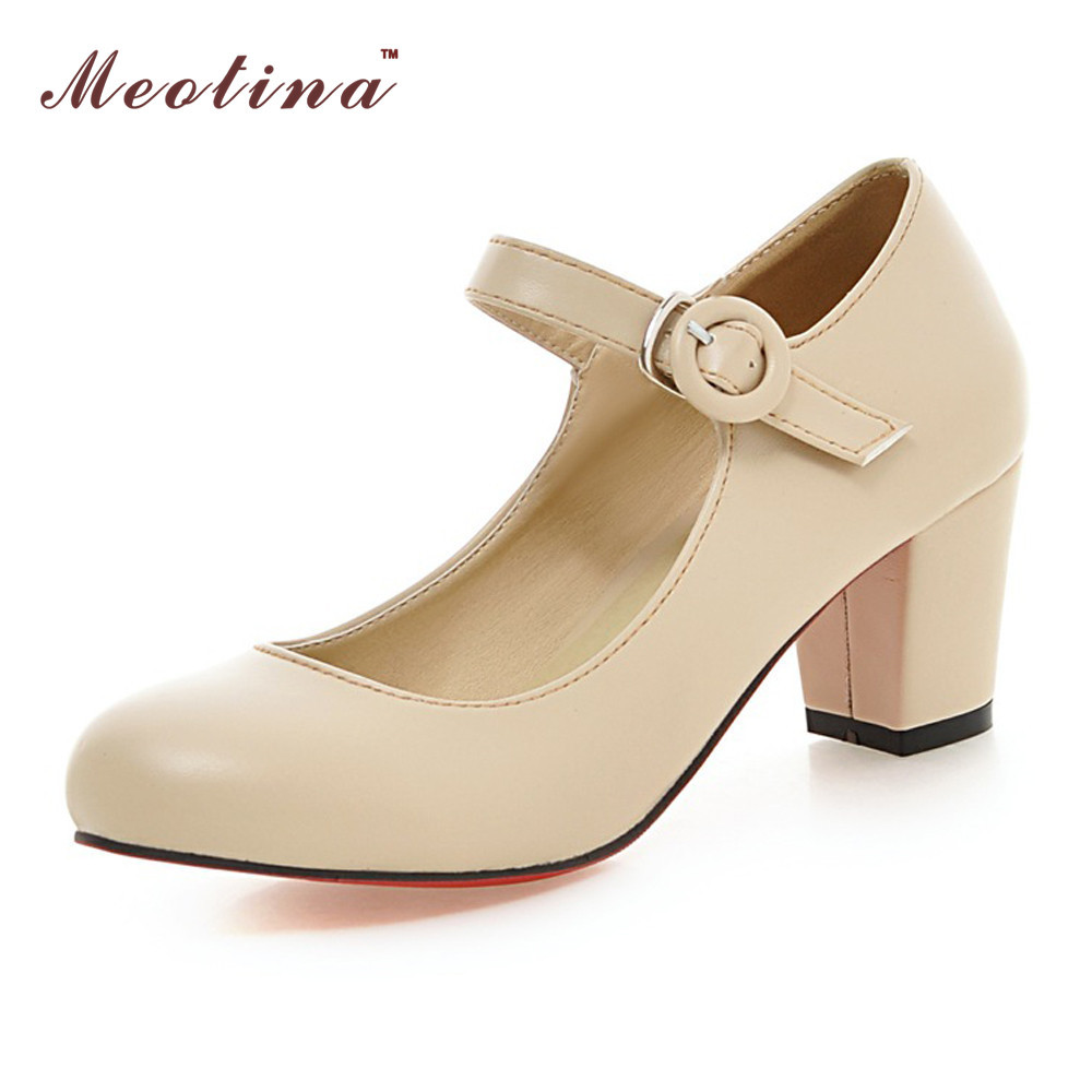 2017 Shoes Women Mary Jane Heels White Bridal Wedding High Round Toe Chunky Pumps Pink Beige Big Size 42 43 10