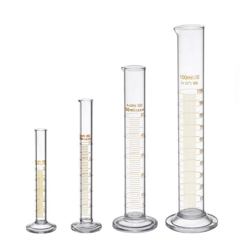 Thick Glass Graduated Measuring Cylinder Set 5ml 10ml 50ml 100ml Glass With Two Brushes