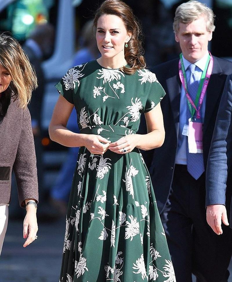 Women Dress Kate Middleton Princess Floral chrysanthemum Print A Line set