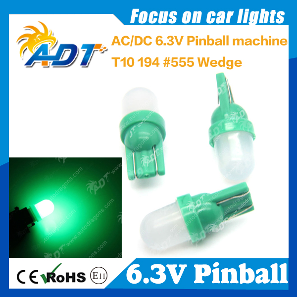 100pieces AC6V car LED Bulbs, #555 w5w T10 LED AC6.3V non ghosting pinball game machine bulluet led