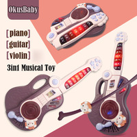 Foldable 3 in 1 Baby LED Musical Toys Early Educational Guitar/Piano/Violin 3 Modes Playing With Record Function Children Gifts