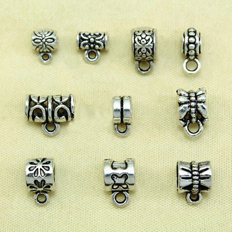 Charm Hangers Antique Silver Metal Alloy 5mm  30 Pcs Findings Jewellery Making