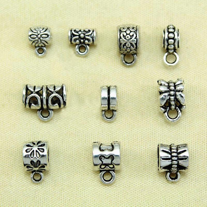 20Pcs Tibetan Silver Tiny Charms Bail Beads Fit Bracelet 6x9mm