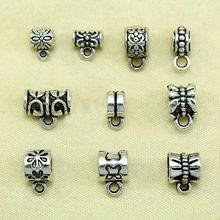 30 peças conector de prata tibetano antigo, tubo de iscas, espaçador, cabide de contas para fabricação de jóias, compatível com pingente bracelete europeu