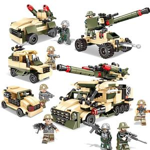 350pcs 4in1 High gun car armored vehicle tank Trucks Car Building Blocks Compatible legoing city weapon DIY toys for boy