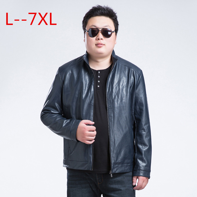 6XL 7XL font b men b font font b leather b font font b jacket b