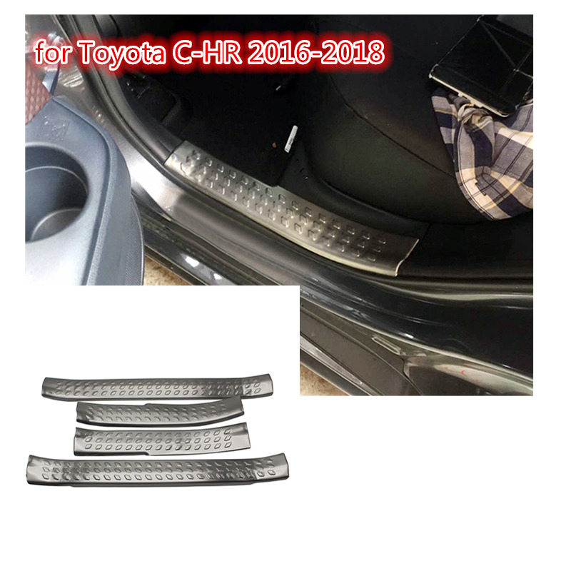 2016-2018 For Toyota C-HR Stainless Steel Outer Door Sill Scuff Plate 4pcs//SET