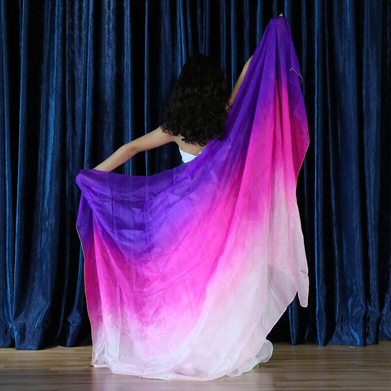 belly dance Silk scarf Performance Children Dancewear Gradient Colors Light Texture Veil Shawls Scarf Costumes Silk Veils in Belly Dancing from Novelty Special Use