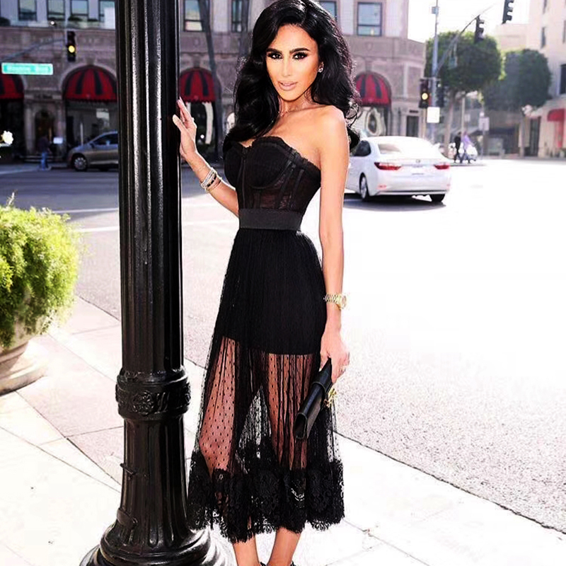 Women Lace Summer Dress 2018 Black Floral Evening Party Dress Elegant Sleeveless Strapless Sexy Evening Party