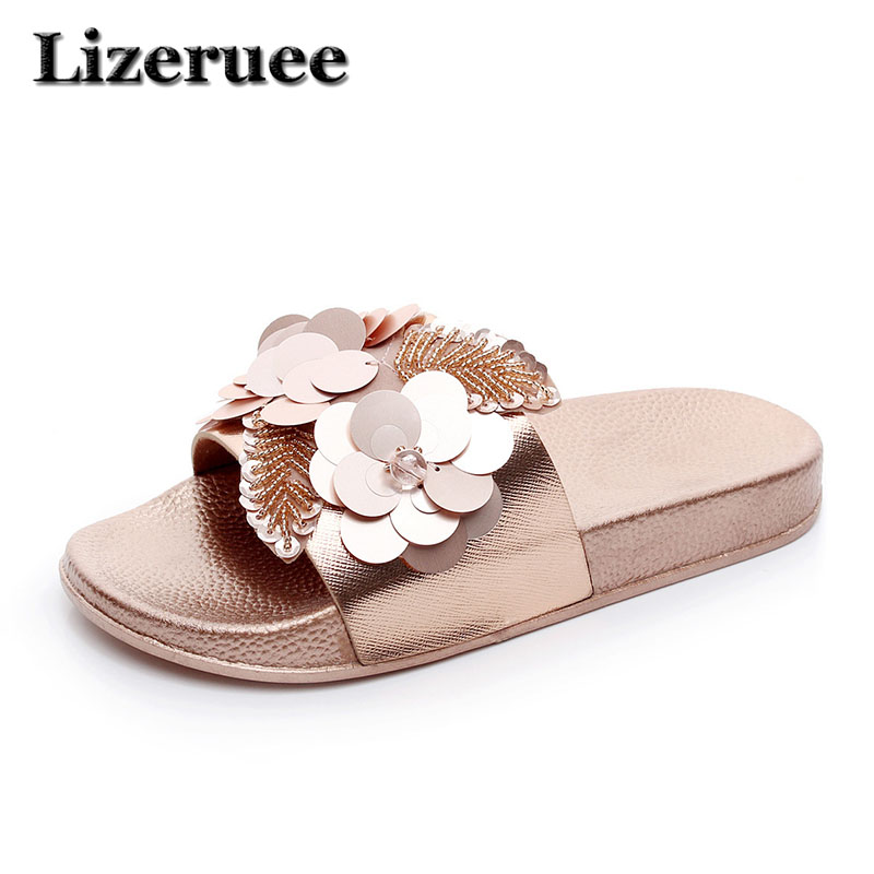2018 Summer Women Beach Slippers Flowers Bling Sandals Flat Slip Sequins Ladies Jelly Slides Home Flip flops Casual Shoes Q59