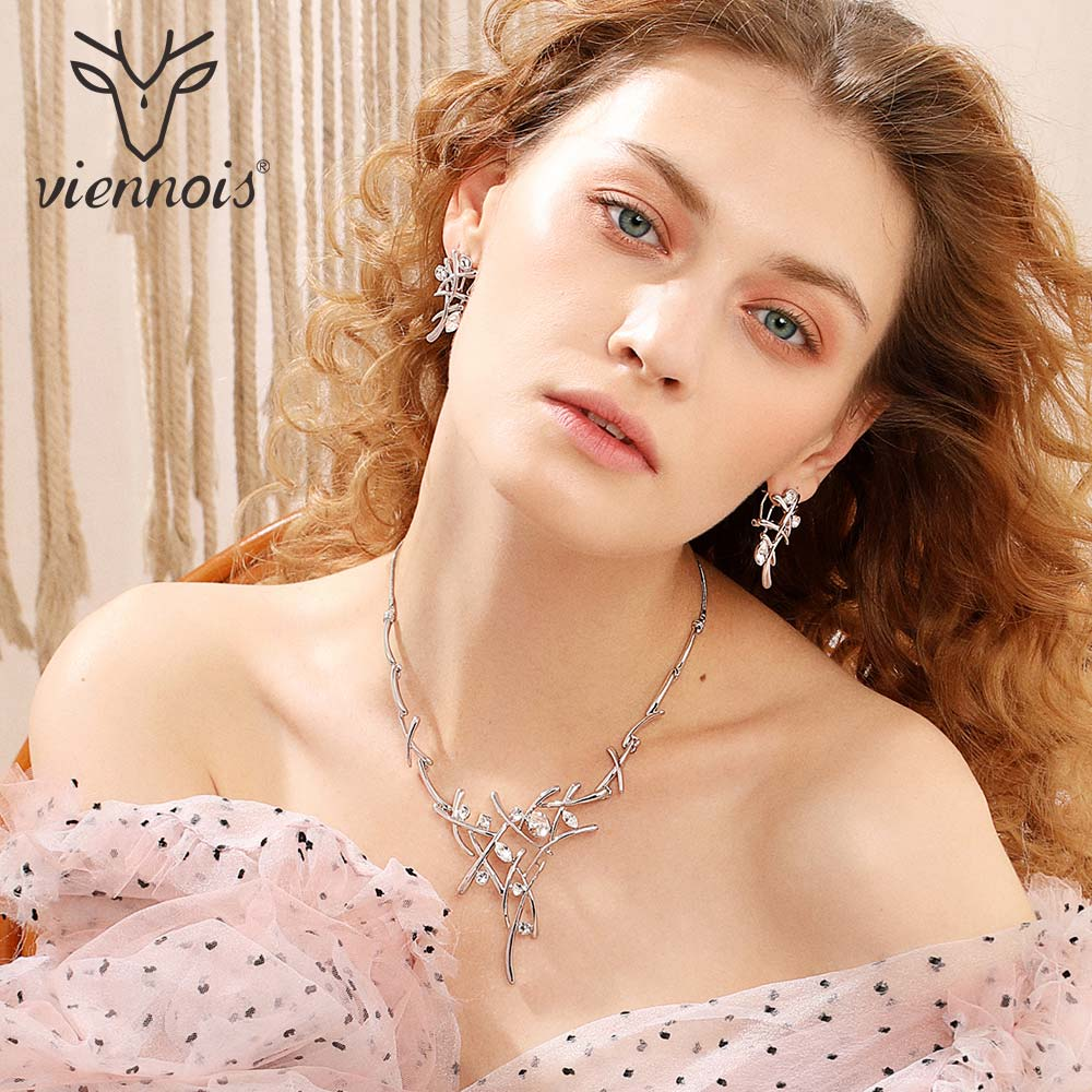 Viennois Earrings & Necklace for Women Elegant Brand Silver Color Rhinestone Crystal Bridesmaids Wedding Cross Jewelry Set viennois luxury silver color jewelry sets for women blue crystals chain necklace earrings set bridal set wedding jewelry set