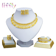 Liffly Bridal Gift Nigerian Women Wedding African Beads Jewelry Set Brand Dubai Gold Colorful Jewelry Sets Wholesale(China)