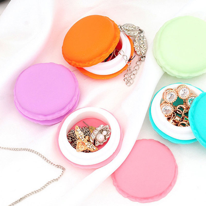 1pcs Cute Pink Color Macaron Jewelry Box Organizer Mini Storage Box Clip Holder Case