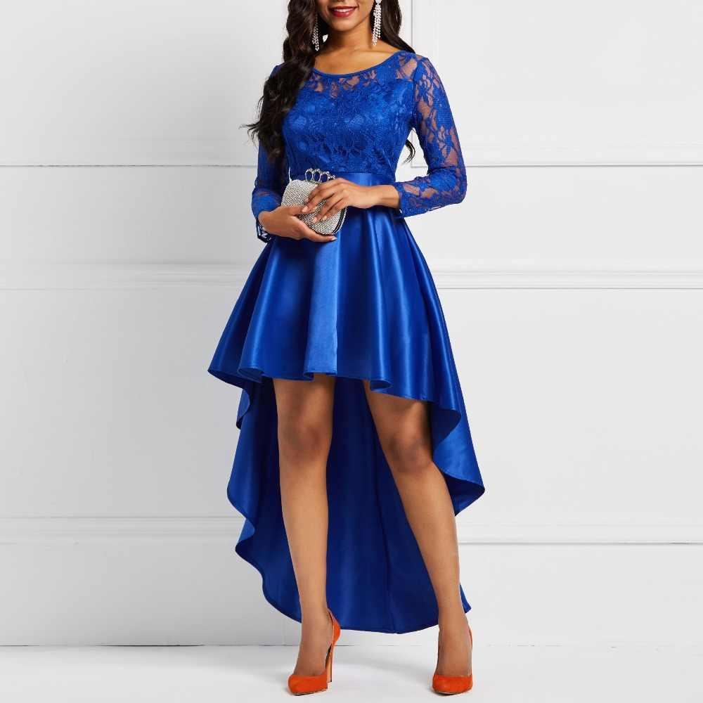 Soirée fête Date asymétrique Satin évider dentelle florale longue robe femmes printemps été bleu Royal bordeaux rouge Maxi robes