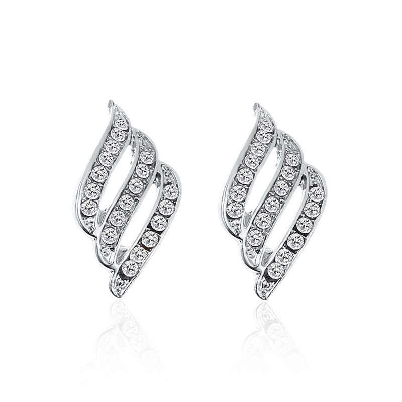 Koreański styl zwykłe kryształki stadniny kolczyki dla kobiet ślub modna biżuteria kolczyki ślubne zaręczynowe kobiece prezenty hurtowych