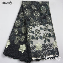 new african cord lace fabric 2018 african Nigeria swiss voile lace high quality fashion black french lace fabric for wedding(China)