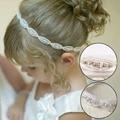 1 Unid Encantadora Princesa de Las Muchachas de Flor Hairband Niños Rhinestone de la Venda Headwear Elástico Del Pelo Venda de los Accesorios