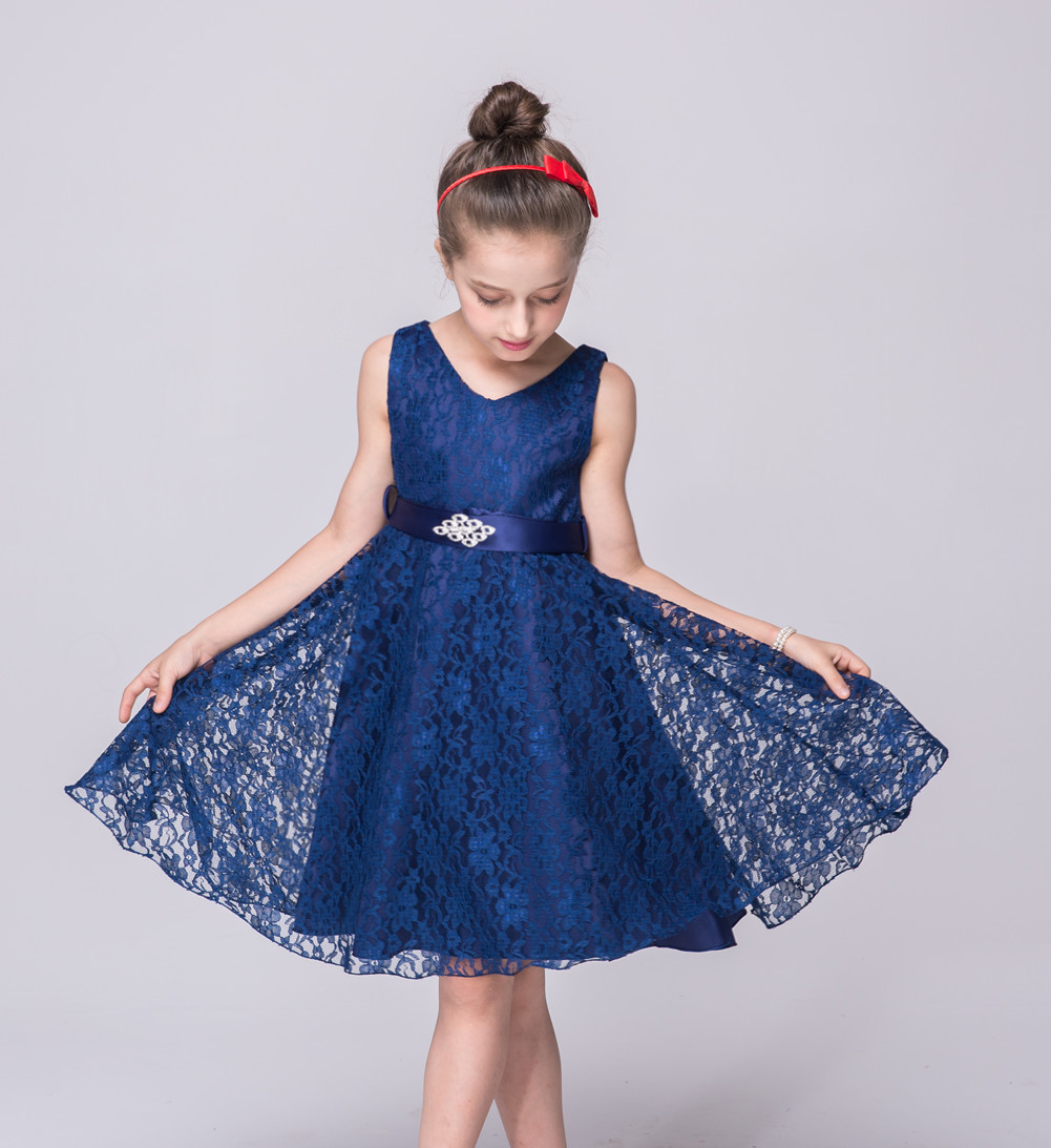 Summer 2017 Children Clothes Flower Baby Princess Party Formal Gown Pretty Short Wedding Evening Dresses Kids Navy Girls Dress girls dress 2017 new summer flower kids party dresses for wedding children s princess girl evening prom toddler beading clothes
