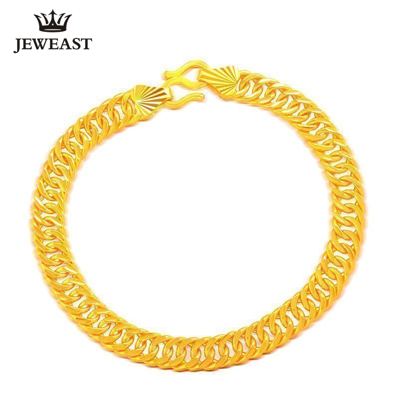 цена на 24K Pure Gold Bracelet Real 999 Solid Gold Bangle Custom Made Men's Gift Trendy Classic Cowboy Chain Jewelry Hot Sell New 2018