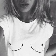 2016 Cotton Womens T shirt White Tit Tee Breast Printed T-Shirt Emoji Tees Street Boob Harajuku Womens Tshirt  M-3XL