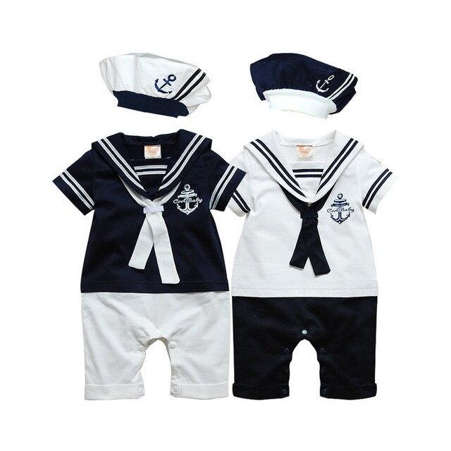 Uniformes de Marinheiro da Marinha macacão de bebê roupas de bebê verão de manga  Curta one 0bffd72ccfa