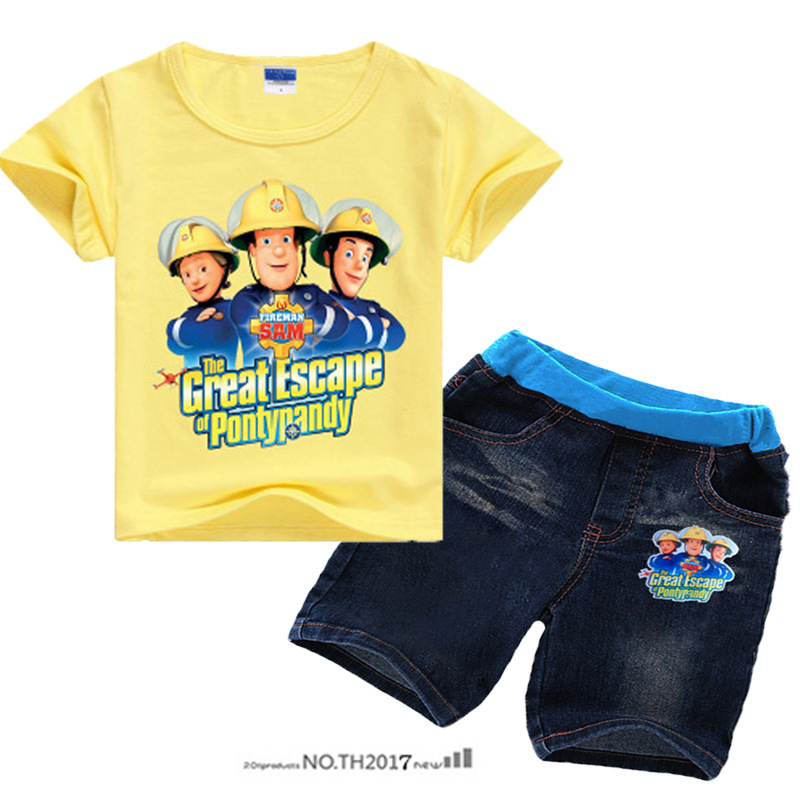 Z&Y 3-9Years Fireman Set Toddler Boys Clothing Shorts Teenage Clothes 2pcs Sets Shirt Jeans Roupa De Menina X224