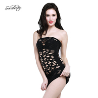 Selebritee Womens Minidress Hollow Out Babydoll Lingerie Sexy Mini Skirt Without Strap Nightgown Clubwear Exotic Nightwear