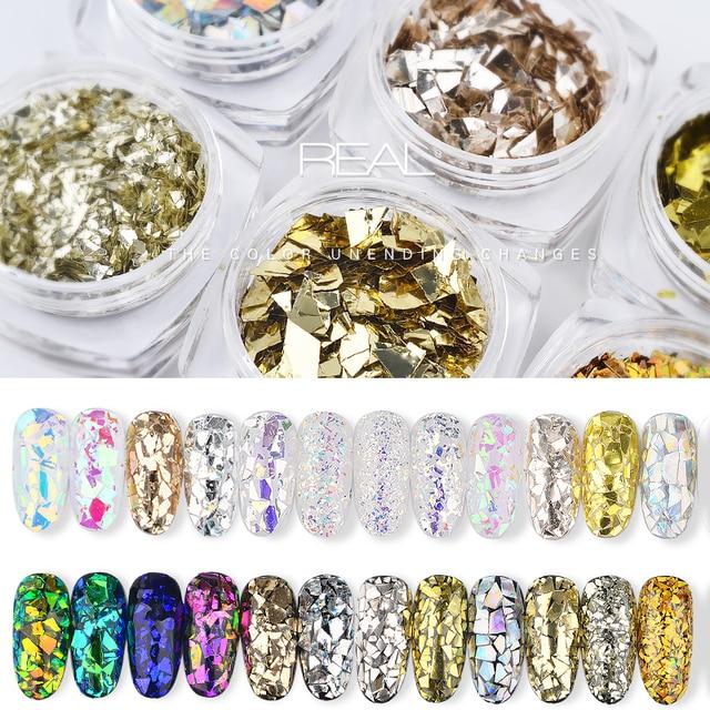 6pot/set Irregular Broken Glass Gold Sequins Nail Art Decoration Flakes Glitters 3d Nails Tips Design Manicure UV Gel Polish New