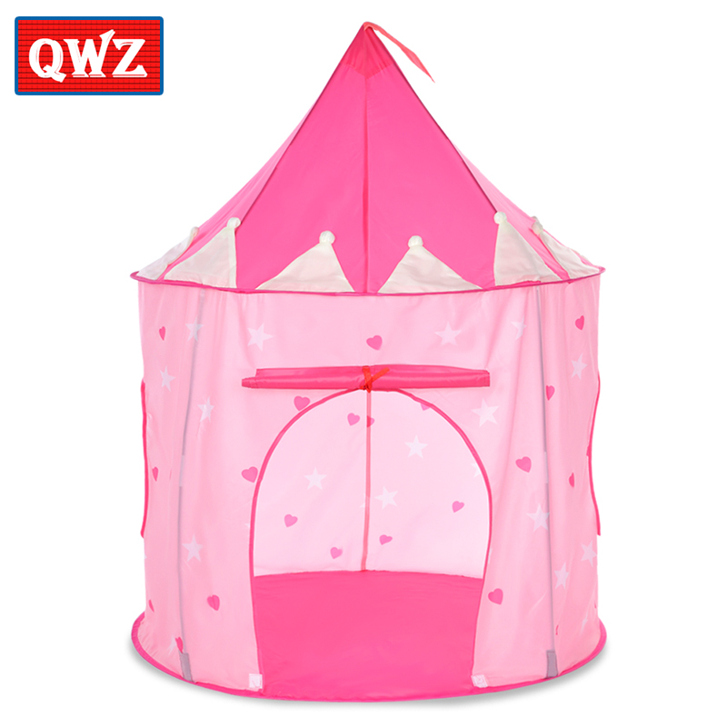 QWZ Kids Toys Tents Kids Luminous Play Folding Tent Boy Girl Princess Castle Indoor Outdoor Kids House Ball Pool Play House