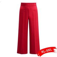 Plus Size Red Wide Leg Pants Women Trousers 4Xl 5Xl Zipper H