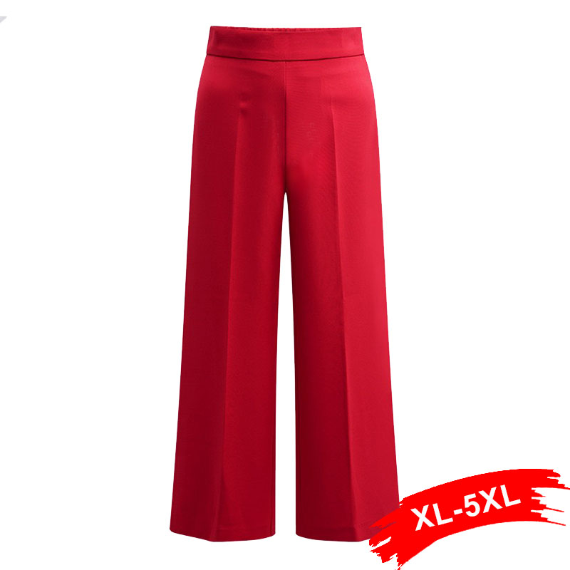 Plus Size Red   Wide     Leg     Pants   Women Trousers 4Xl 5Xl Zipper High Elastic Waist Loose Casual   Pants   Office Ladies Work Wear Female
