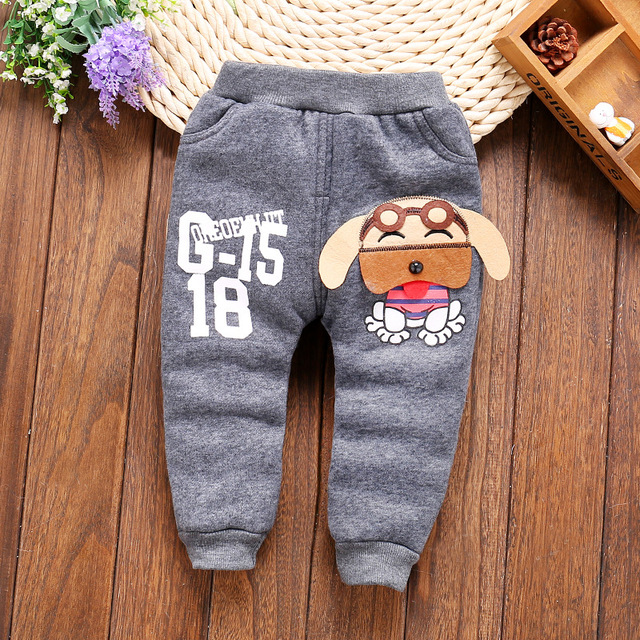Children winter trousers pant boys thickening plus cashmere winter baby Cartoon trousers