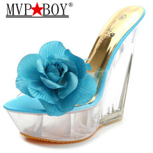 MVP BOY Summer Sexy Slippers 2019 New Arrival Women Transparent Platform Wedges Slides High Heels 15CM Shoes Female 34-40