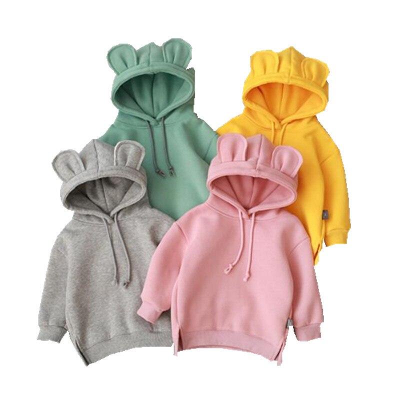 2019 Novos pijamas Do Bebê Das Meninas Dos Meninos Outono Camisola Bonito Hoded Roupas Versão Coreana Quente Além de Veludo Sweatershirt Bebê Para Fora O Desgaste