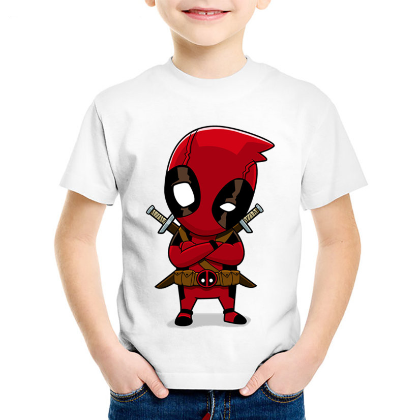 Children Cartoon Print Cute Childish Deadpool Funny T-shirts Kids Summer Short Sleeve Tees Boys/Girls Tops Baby Clothes,HKP2237 свитшот print bar deadpool