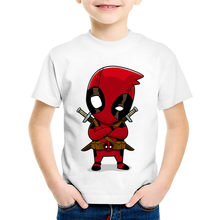 Children Cartoon Print Cute Childish Deadpool Funny T-shirts Kids Summer Short Sleeve Tees Boys/Girls Tops Baby Clothes,HKP2237(China)