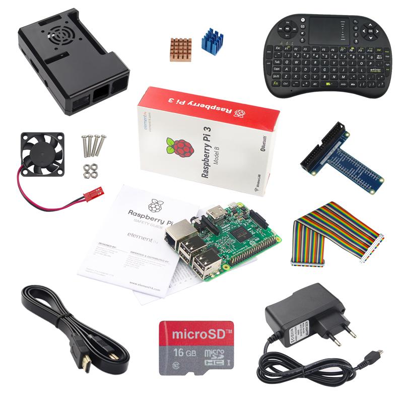 Prix pour Raspberry Pi 3 Modèle B + Adaptateur + 16G SD Carte + Keybaord + cas + Dissipateur de Chaleur + Câble HDMI + GPIO Câble + GPIO Boaed + ventilateur
