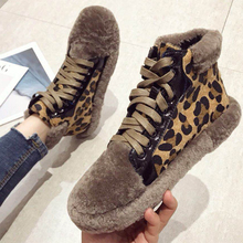 Bimolter Kid Suede Shoes Warm Long Plush Ankle Boots Winter Fashion Leopard snow boots warm british Lace up Boots Booties NA019