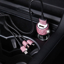 1 Piece Car Quick Charging Line 3 in For Android/IOS System/TYPE-C Diamond Gift Decorate Your