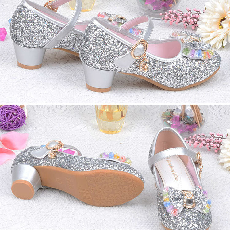 1_092016 spring Kids Girls High Heels For Party Sequined Cloth Blue pink Shoes Ankle Strap Snow Queen Children Girls Pumps Shoes