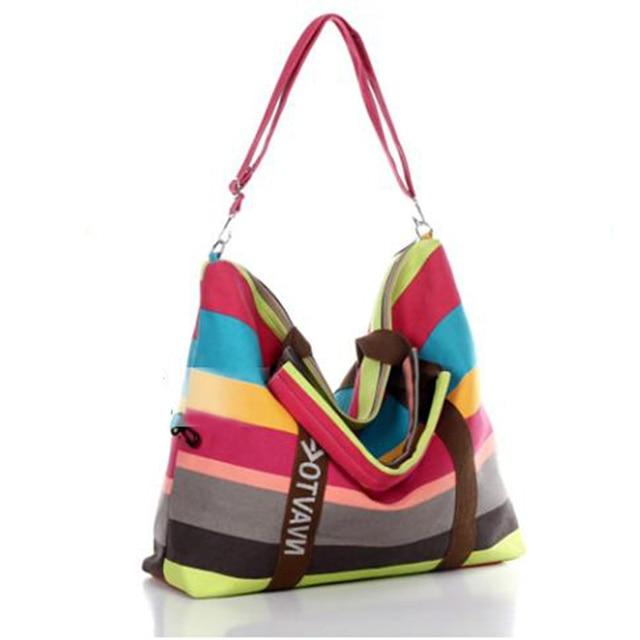 Women Canvas Messenger Bag Female Shoulder Bags Ladies Beach Top-Handle Bags Stripe Tote Shopping Bag 4