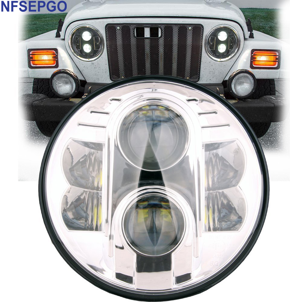 NFSEPGO 7 Inch Round 80W 4450LM CREES LED Headlight DOT Approved - HiLo & DRL for Jeep Wrangler and Harley H6024 7 Headlight