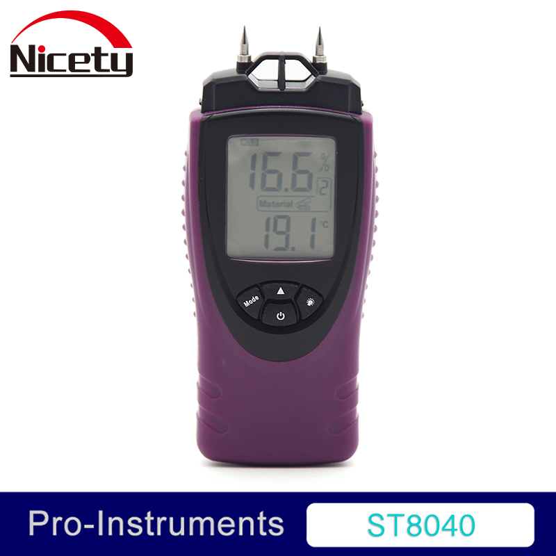 Nicety ST8040 Digital Wood Moisture Meter Wood Humidity hardened wood and building materials temperature Moisture Tester GR все цены
